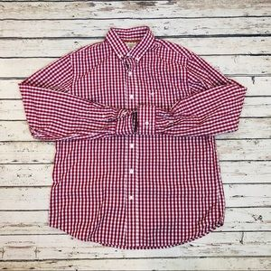 Dockers Men's shirt Button Down red and white Sz M